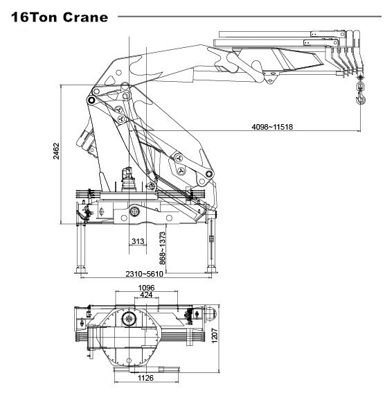 Durable Isuzu 8*4 Mobile 16T Knuckle Boom Truck Mounted Crane
