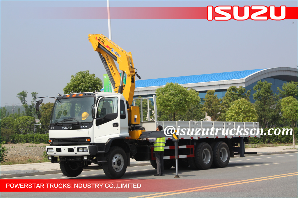 Ghana clients 10 wheels Heavy Duty Isuzu Knuckle Boom Truck Crane