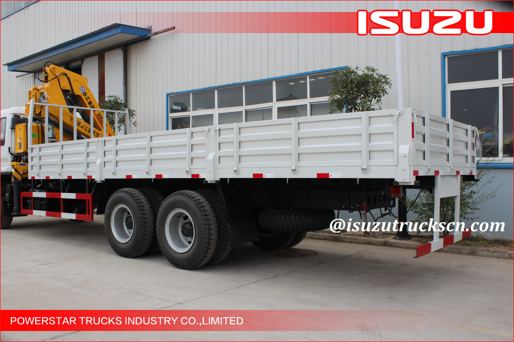 Isuzu chassis Hydraulic 12 ton Cargo Lorry-Mounted Crane With Telescopic Boom
