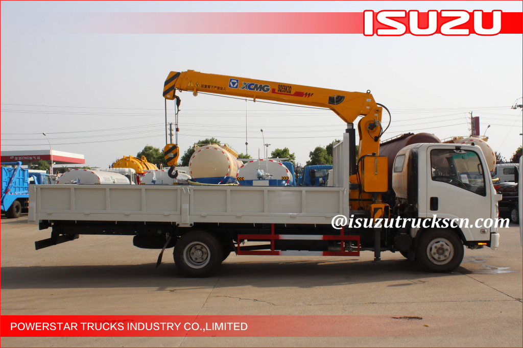 5tons Isuzu ELF Knuckle Boom Truck Mounted Crane for construction