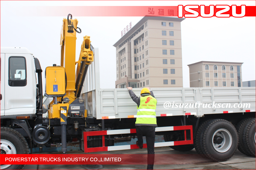FVZ ISUZU 14 Ton Telescopic Boom Truck Mounted Crane Driven By Hydraulic