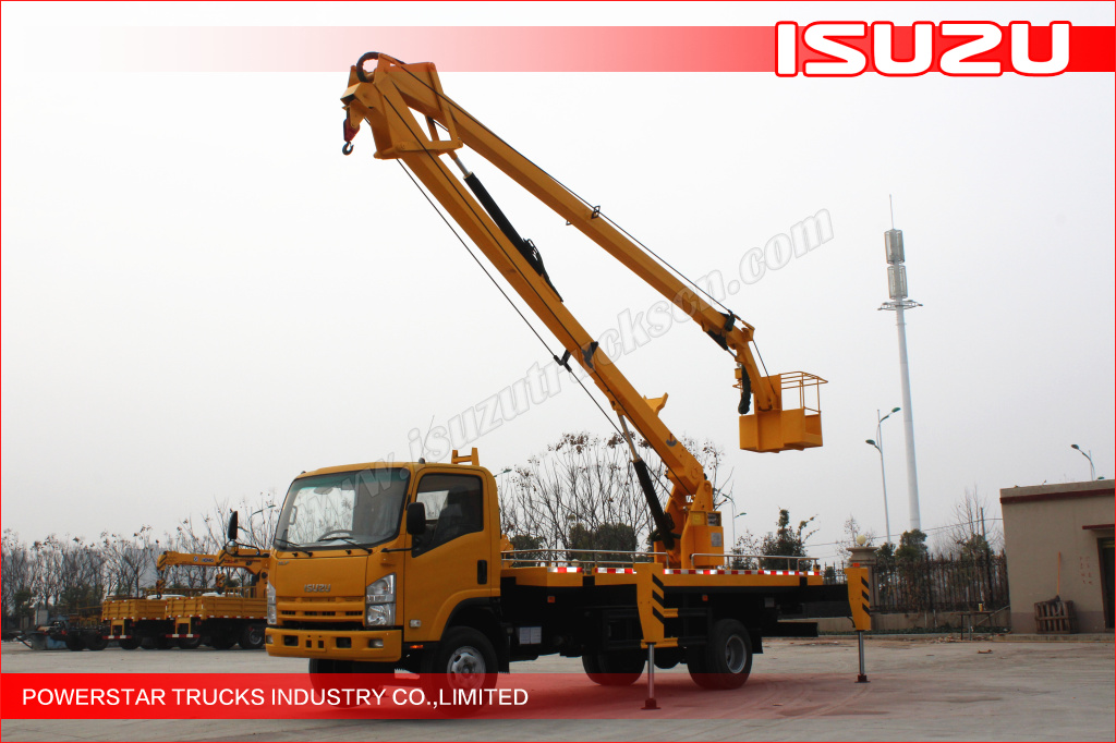 Hydraulic Boom Lifts For Pickups : Isuzu truck mounted aerial work platform lift