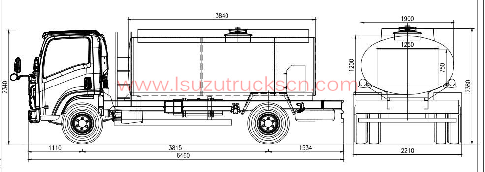 high efficiency 4000l isuzu fiscal refuel tank truck for