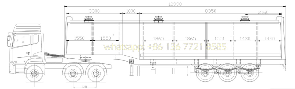 42m3~50m3 Aluminum Alloy Fule tank trailer drawing