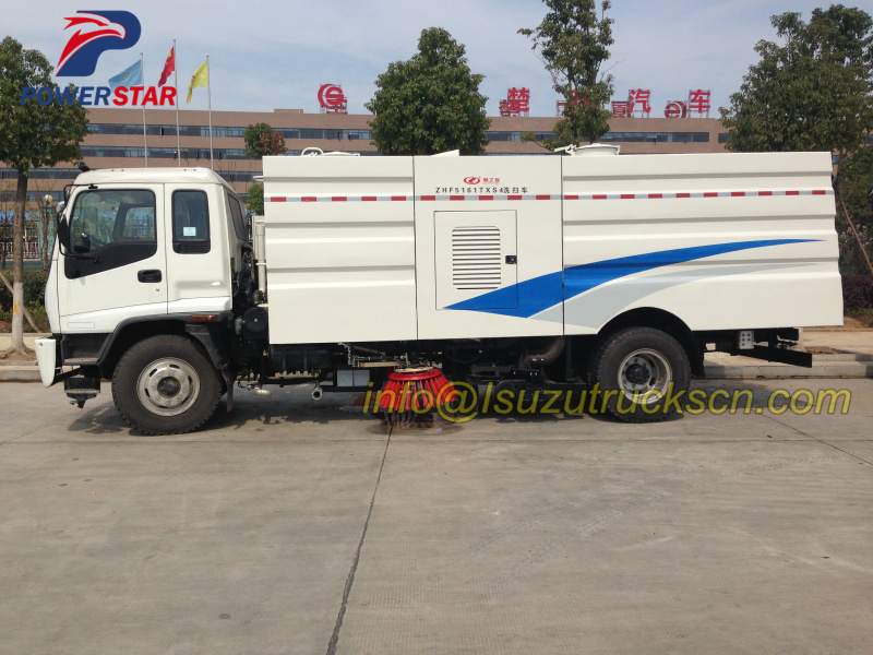 Airport high performance road sweeping truck Isuzu detail specification pictures