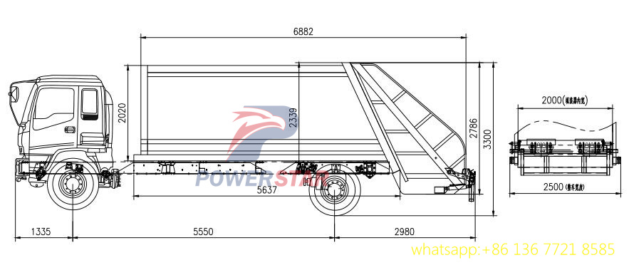 Technical drawing for Isuzu refuse compactor truck 14cbm