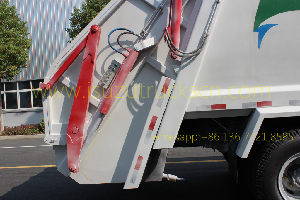 details picture and specification for rear loader garbage truck Isuzu 14 cbm