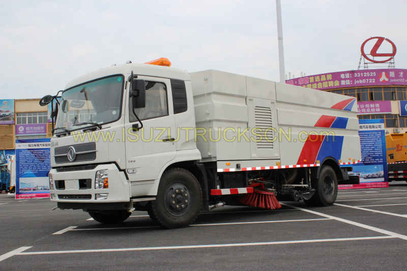High vacuum road sweeper Dongfeng sweeper with washer pictures