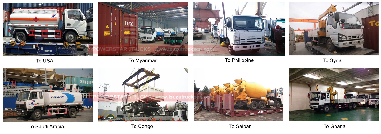 Isuzu water tanker trucks for shipping to Myanmar