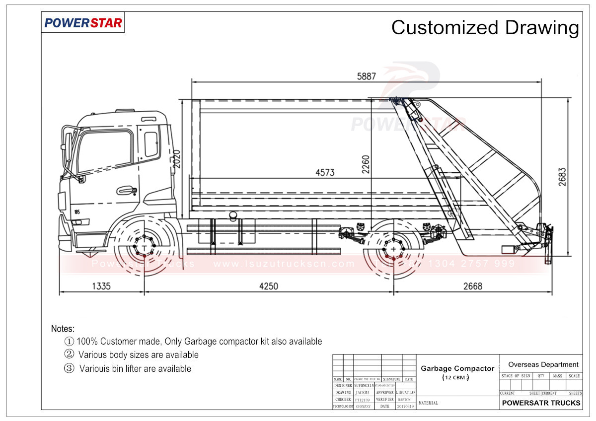 technical drawing for compression refuse collector truck Isuzu