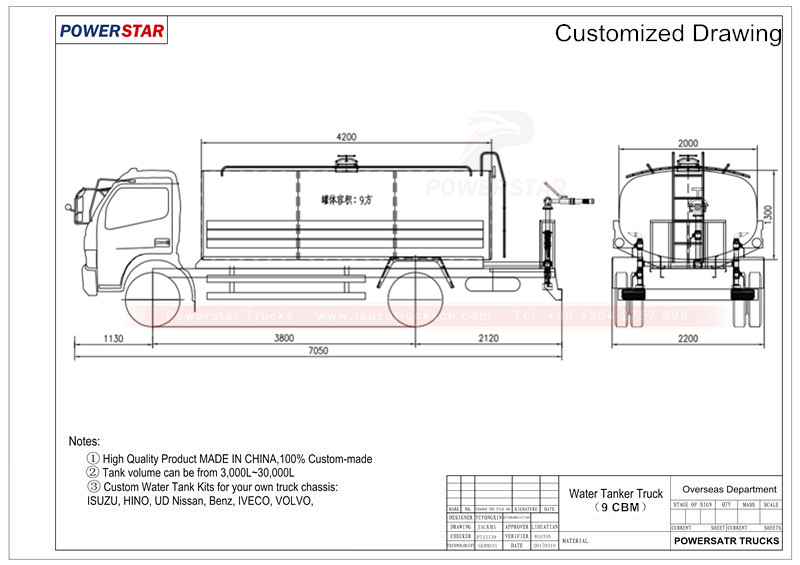 Technical drawing for Isuzu water bowser tanker trucks