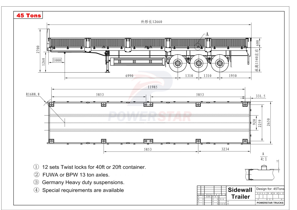 technical drawing for China low price 40 Ton Flatbed Trailer With Side Board Wall Cargo Semi Trailer For Sale