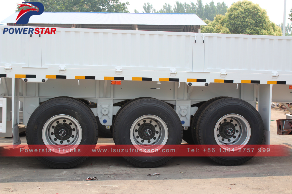 detail pictures for drop side semi trailer bulk cargo transport semi trailer 3 axle 45T payload