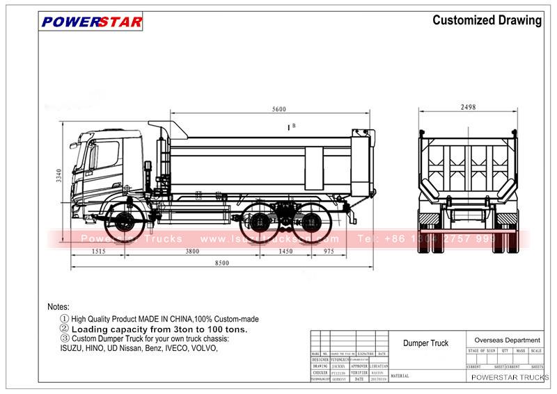 GAC Hino heavy duty dumper Hyva Hydraulic Tipper Dump Truck