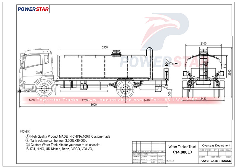 technical drawing for Water Bowser Isuzu FTR 3000 Gallon (14000 Liters)
