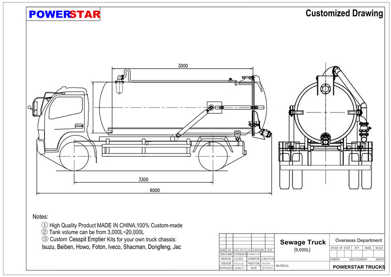 technical drawing for Isuzu 4x2 sewage suction truck vacuum truck sale