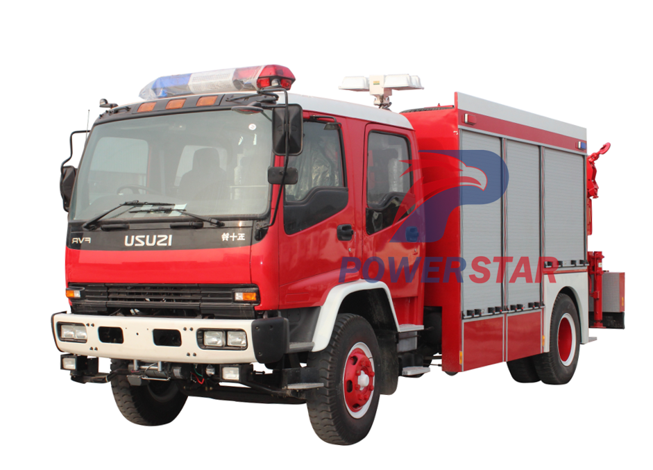 emergency fire fighting truck with crane