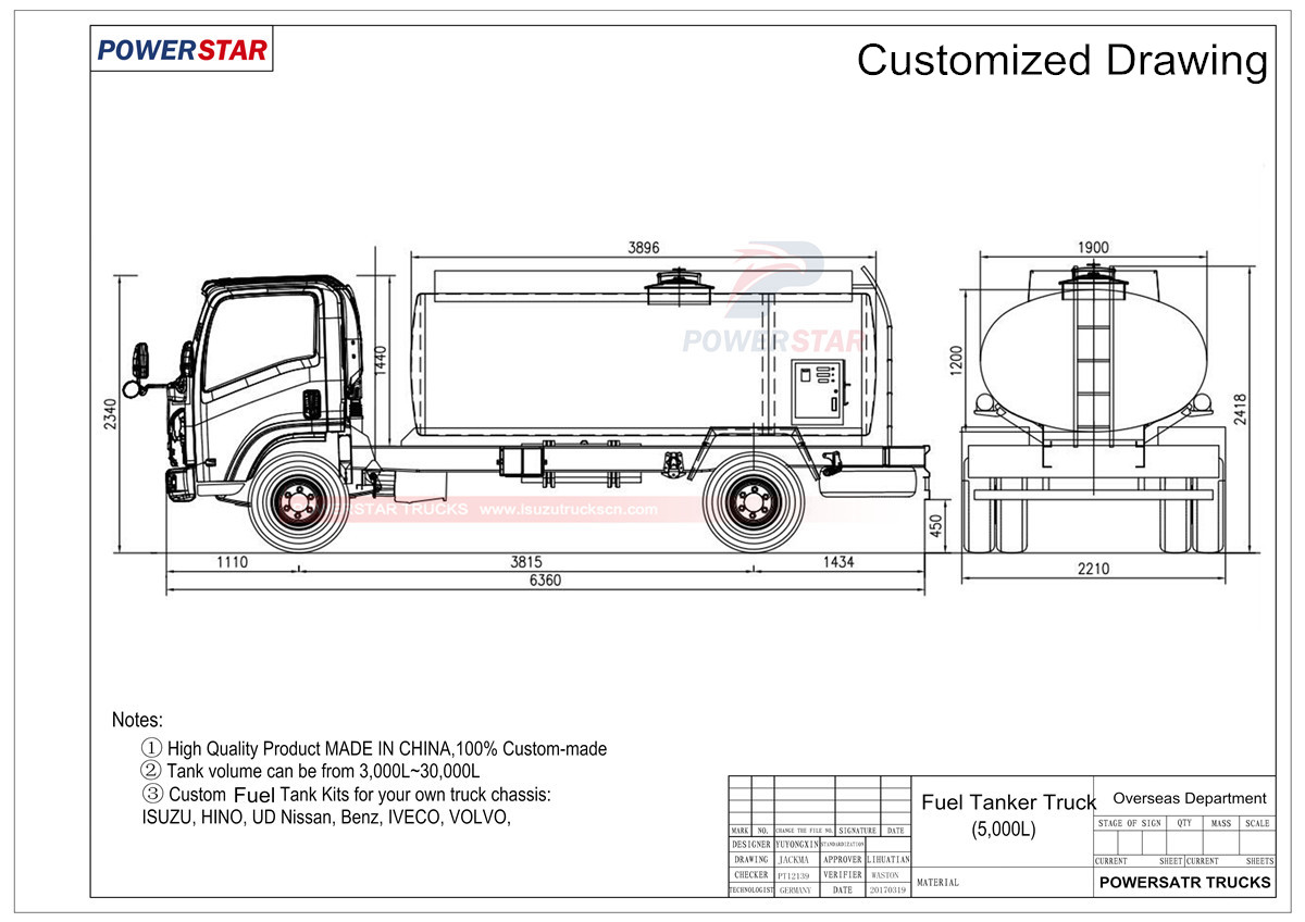 Technical drawing for Isuzu Mobile Refueling Tank Truck 3,000L