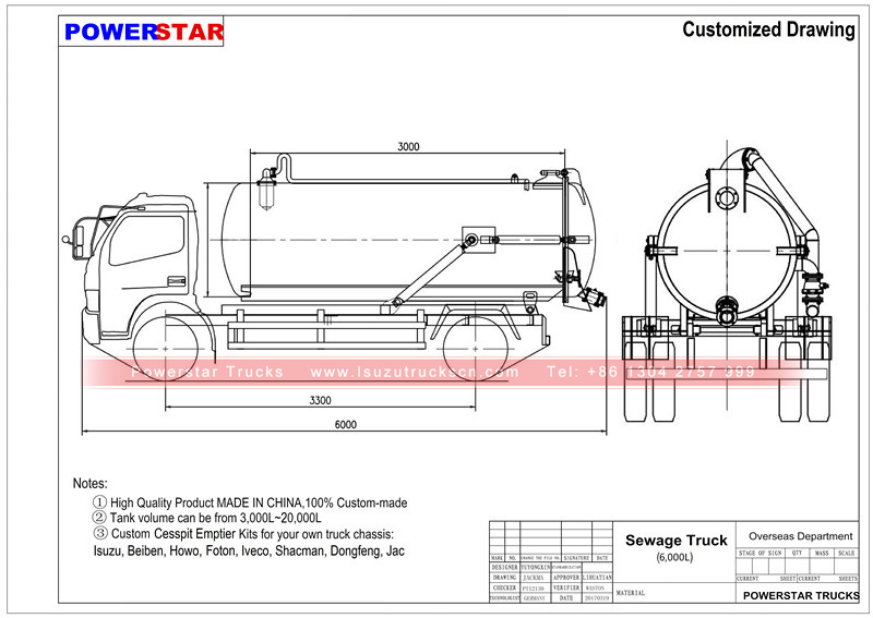 Technical drawing for Vacuum tanker trucks Isuzu (6,000 Liters)