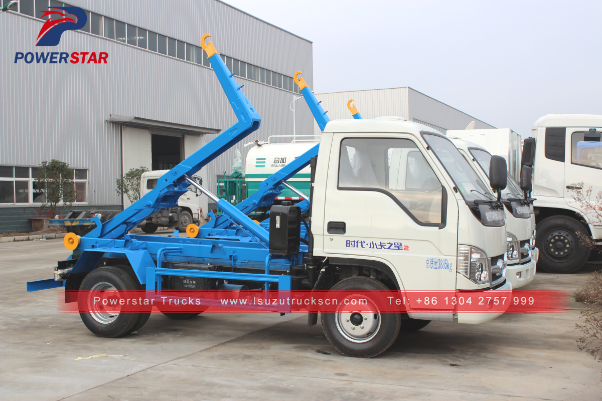 Myanmar Detachable compartment garbage truck Foton hooklift vehicle