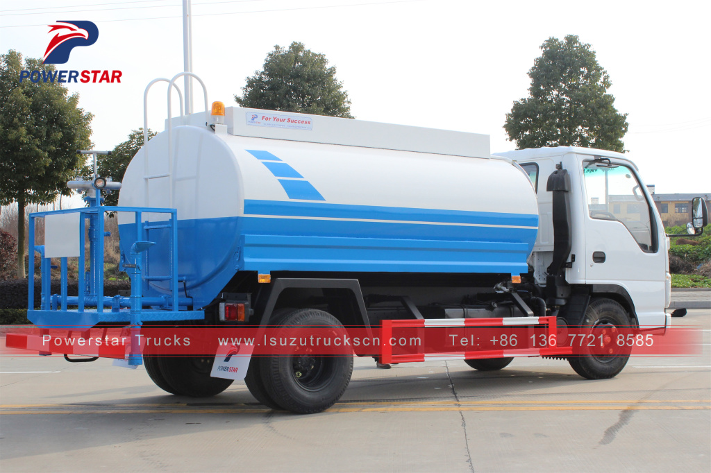Philippines 5cbm Isuzu green water spray tanker truck for sale