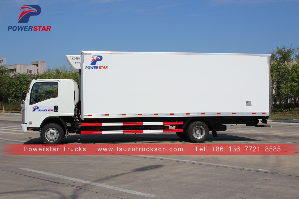 French Polynesia Isuzu food truck refrigerator freezer refrigerator van truck for meat and fish for sale