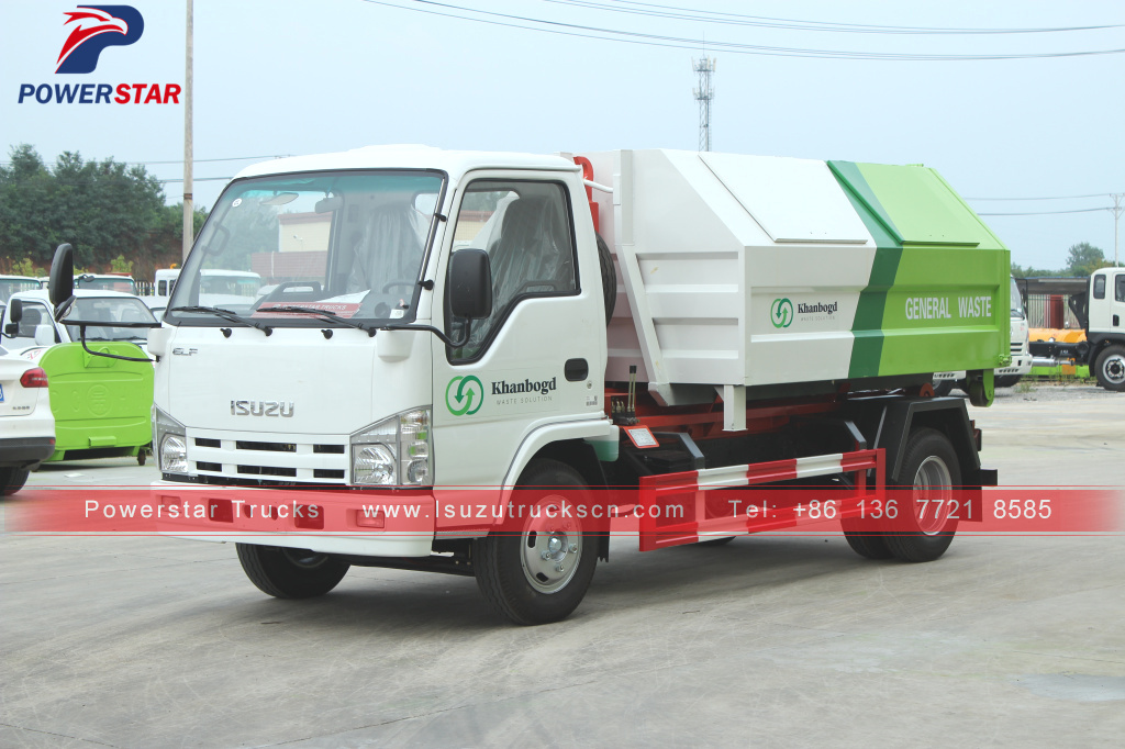 Mongolia Isuzu Carriage detachable garbage hooklift truck for sale
