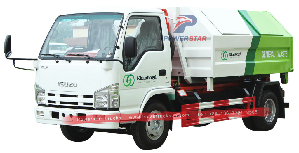 Mongolia Isuzu Hooklift Refuse Collection Garbage Truck