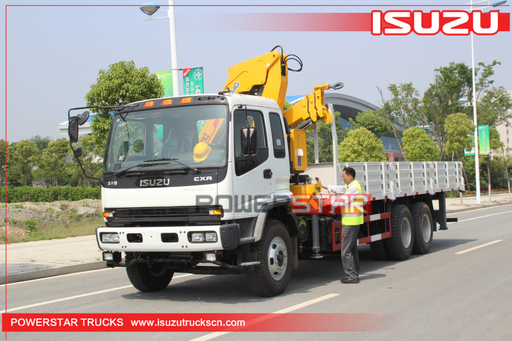 Custom Isuzu FVZ heavy duty Cargo truck with folding boom crane for sale