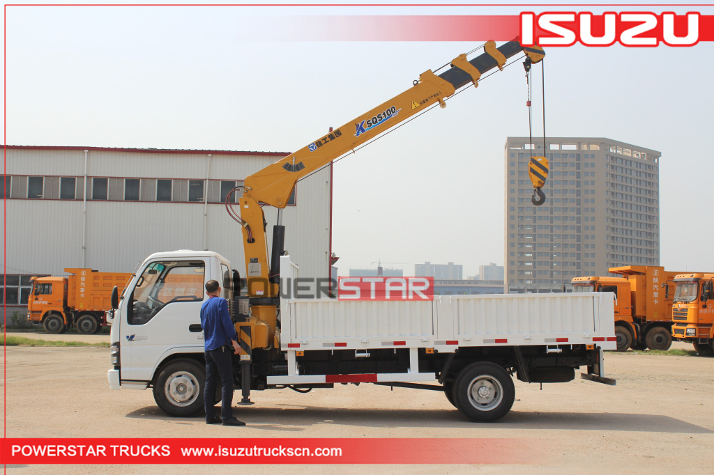 Isuzu 4tons boom truck crane cargo vehicle