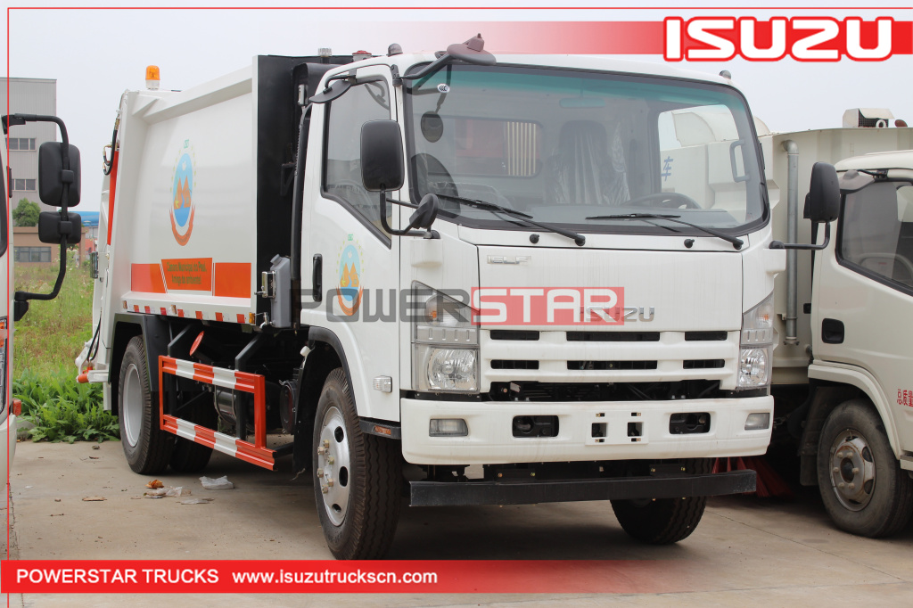 Hydraulic rear loader garbage truck Isuzu refuse vehicle 5tons 8tons