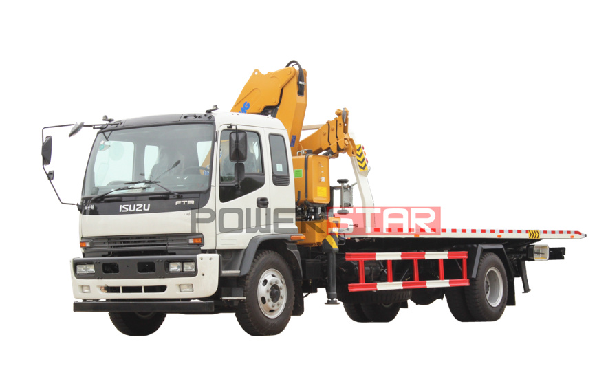 Breakdown recovery ISUZU FTR sliding platform wrecker truck with crane