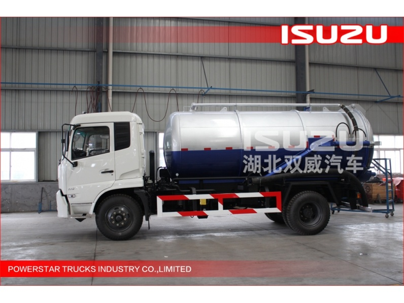 4x2 10000L vacuum truck for sewage or septic sucking and sewer unblocking