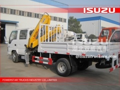 hot sale ISUZU 4ton small knuckle boom pickup truck crane with crane with ISO9001 certification