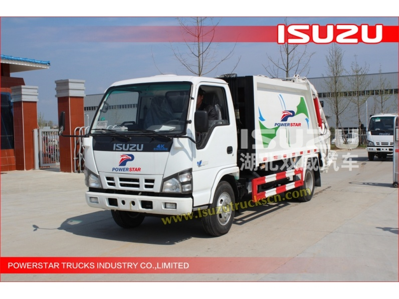 low price 3tons ISUZU Rubbish Compressed Truck with 4KH1 engine