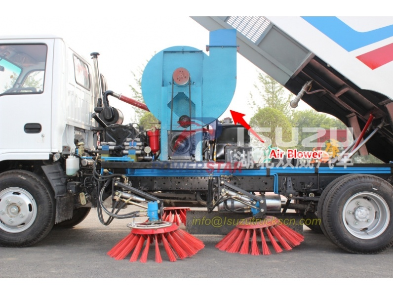 Fan for street sweeper truck up structure