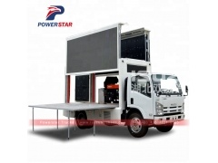 Japan ISUZU Double screen with P8 screen model mobile led truck With Aluminum floor