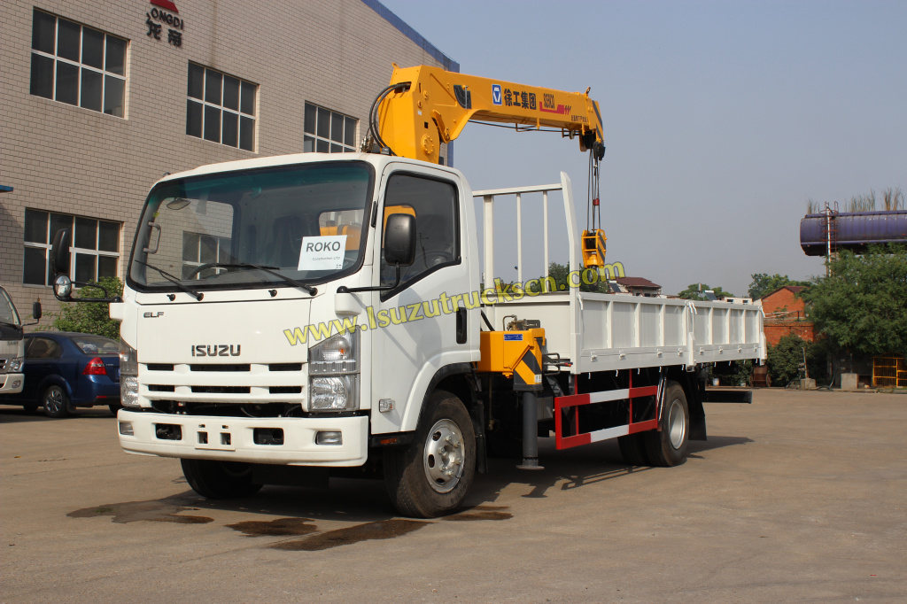 Africa ROKO construction company order Isuzu NPR truck with XCMG 5ton crane