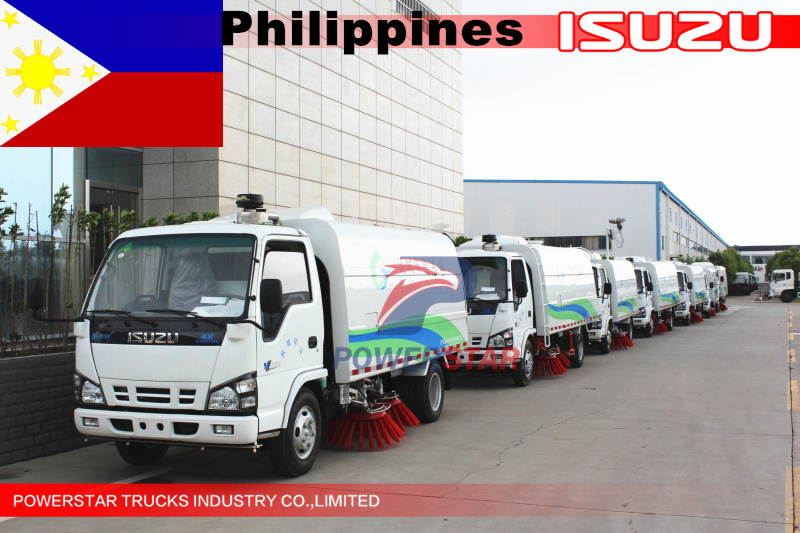 Philippines 6units 5cbm Isuzu road cleaning sweeper truck
