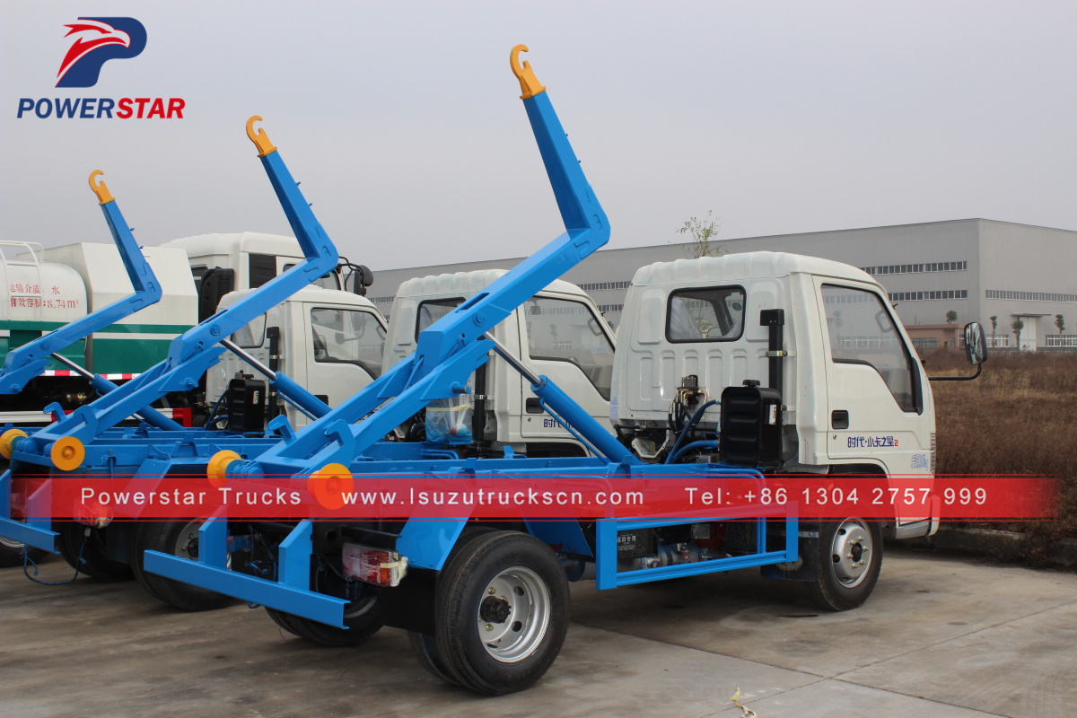 Small 3tons Detachable container garbage truck Isuzu for sale