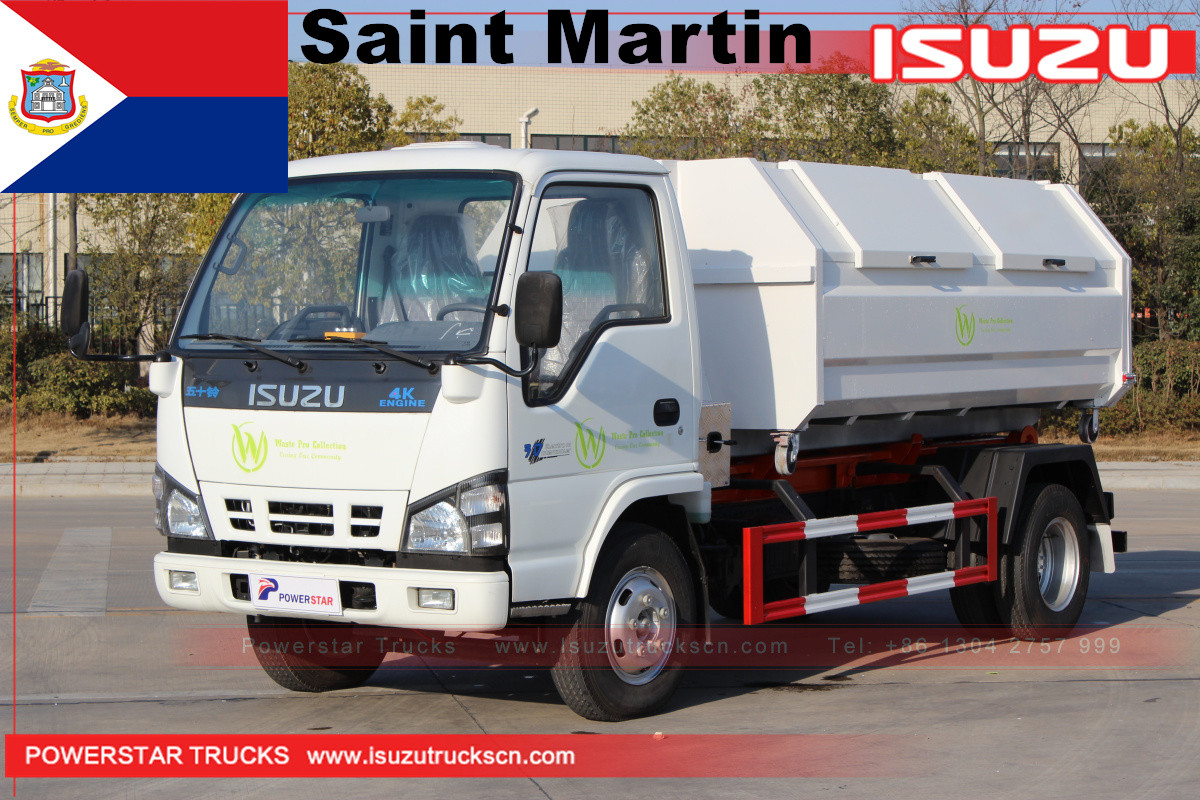 Saint Martin 1 Isuzu hooklift garbage truck with 4 garbage bin