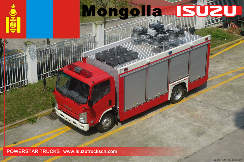 Mongolia - 1 unit ISUZU floodlight lighting tower fire vehicle