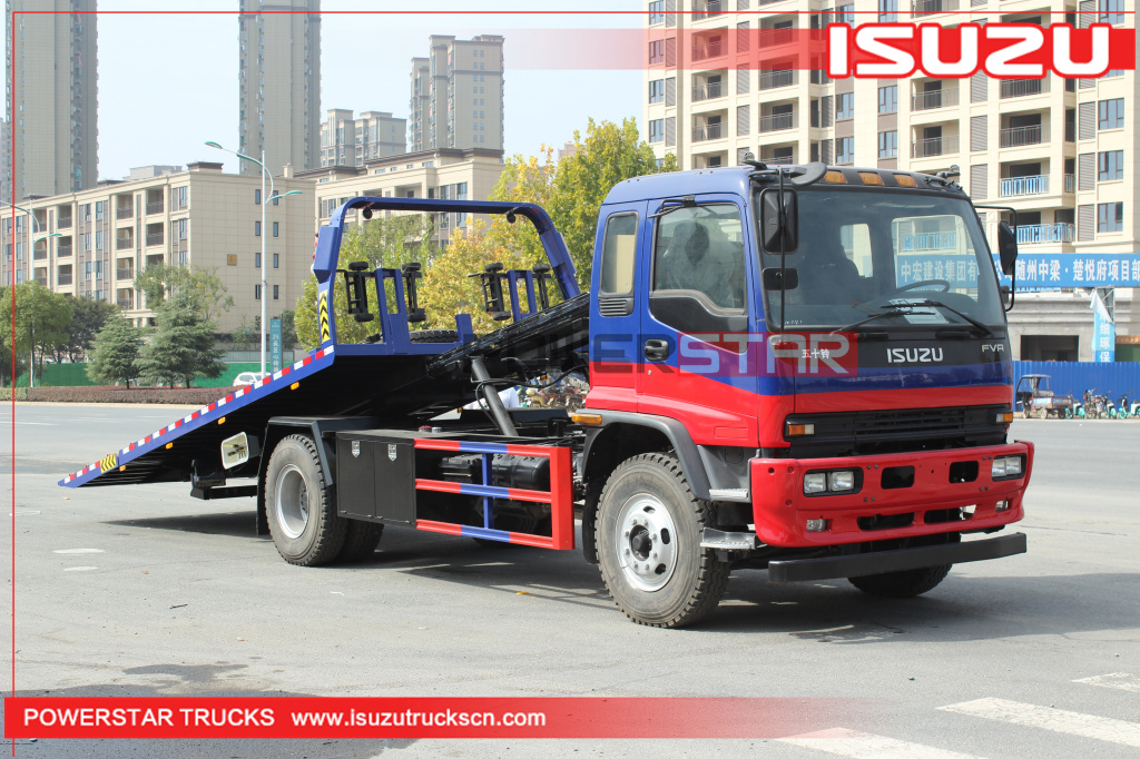 Philippines ISUZU FVR Flatbed rollback car carrier Breakdown truck