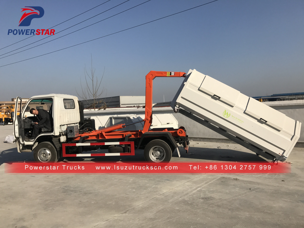Powerstar brand Isuzu 6wheels Hooklift Garbage Truck with Hook Arm