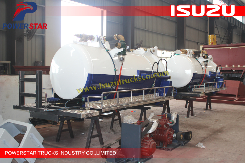 Custom built Pressure Vacuum Tanks body Kit Isuzu Vacuum tanker body structure