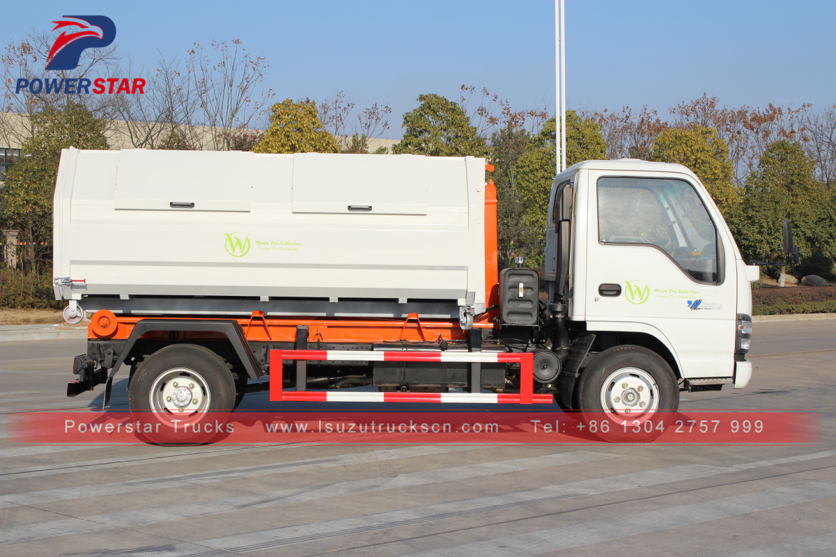 Isuzu mini Environmental hydraulic hooklift garbage truck