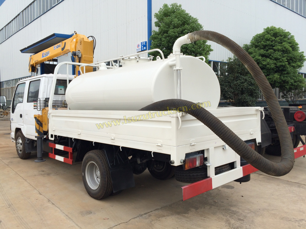 Custom build Isuzu Vacuum Sewage Pump truck Mounted Crane 3.2tons